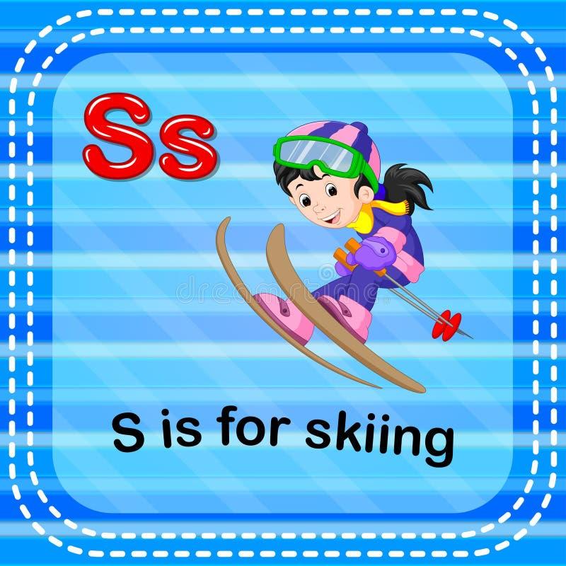 La lettera S di Flashcard è per sciare illustrazione di stock