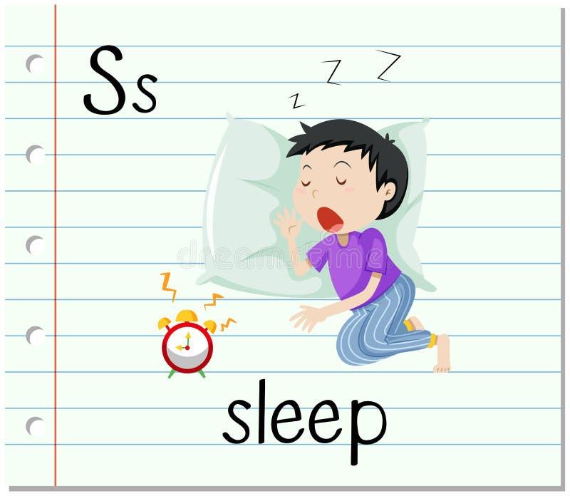 La lettera S di Flashcard è per sonno illustrazione di stock