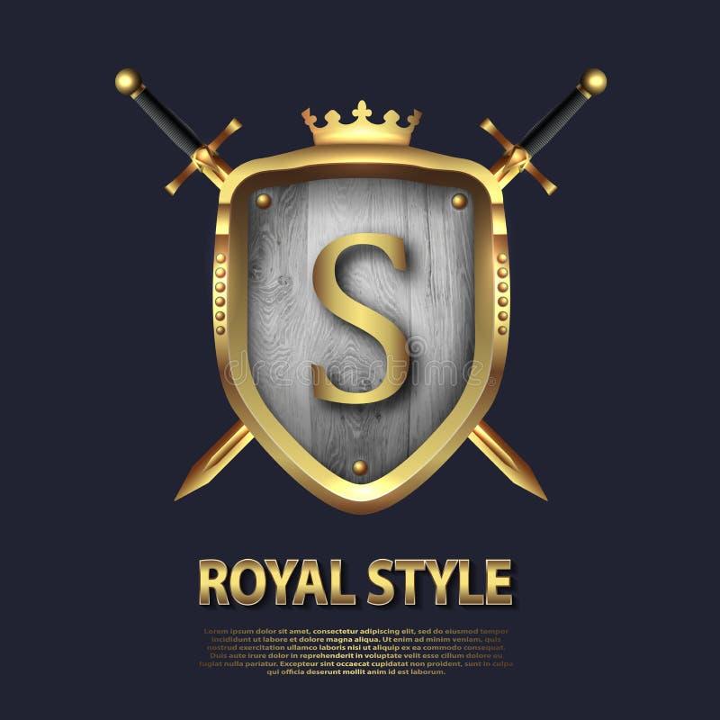 La lettera S e due ha attraversato le spade e lo schermo con la corona Progettazione di lettera nel colore dell'oro per gli usi c royalty illustrazione gratis