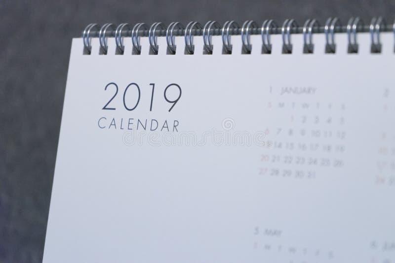 La lettera 2019 sul calendario fotografia stock libera da diritti