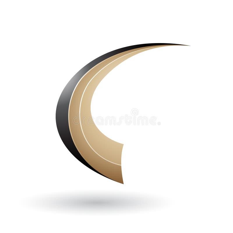 La lettera volante dinamica nera e beige C ha isolato su un fondo bianco illustrazione vettoriale