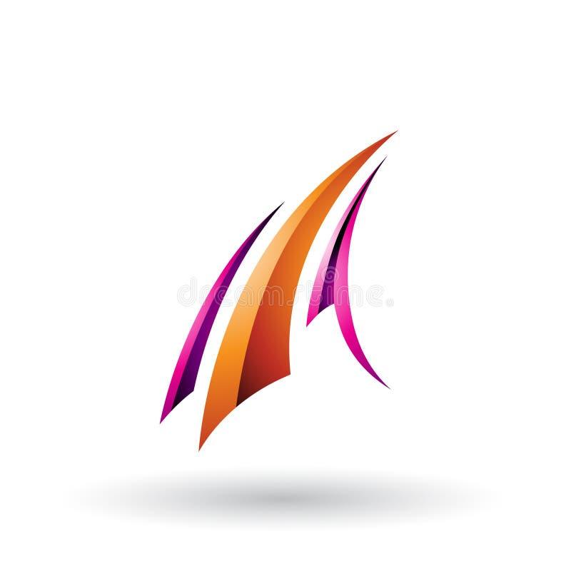 La lettera volante lucida magenta ed arancio A ha isolato su un fondo bianco illustrazione vettoriale