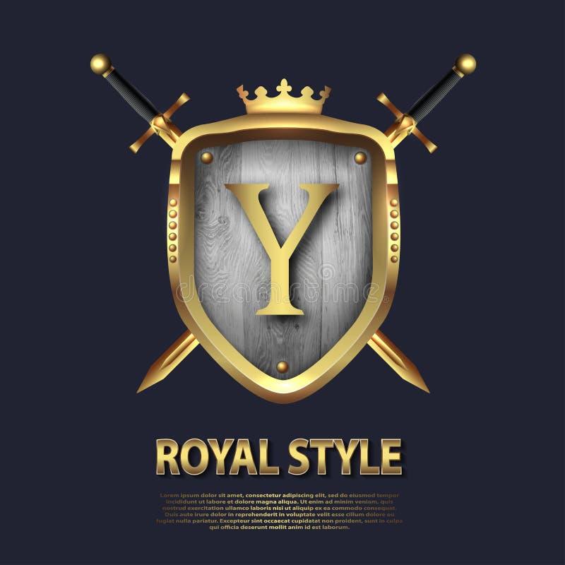 La lettera Y e due ha attraversato le spade e lo schermo con la corona Progettazione di lettera nel colore dell'oro per gli usi c illustrazione vettoriale