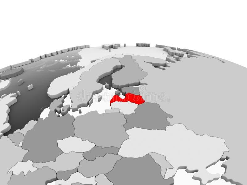 La Lettonia sul globo grigio royalty illustrazione gratis