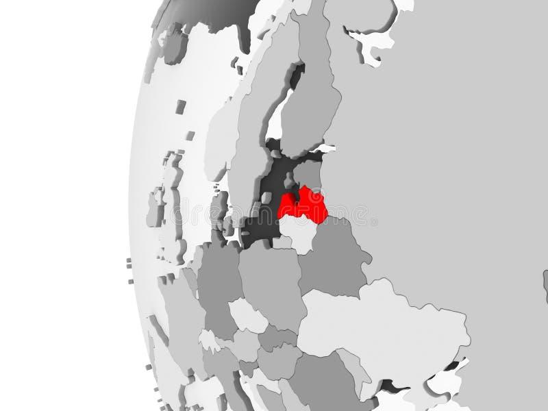 La Lettonia sul globo grigio illustrazione di stock