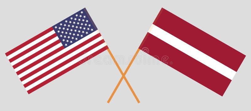 La Lettonie et les Etats-Unis Les drapeaux lettons et des Etats-Unis d'Amérique Couleurs officielles Proportion correcte Vecteur illustration libre de droits