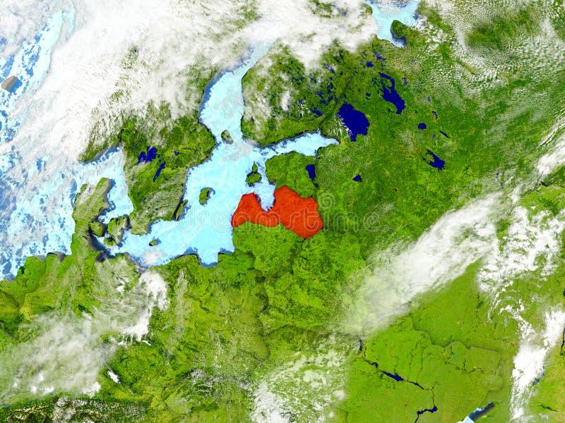 La Lettonie sur la carte avec des nuages illustration libre de droits