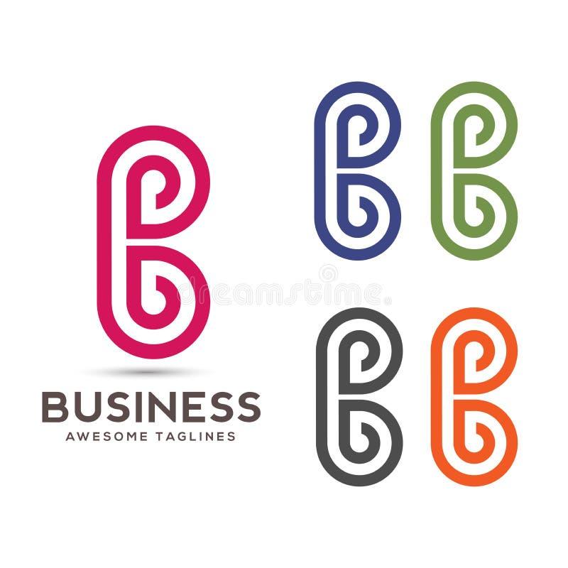 La lettre abstraite créative B raye le vecteur de logo illustration stock