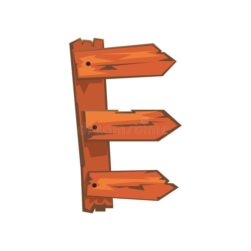 La lettre anglaise E a formé des planches en bois avalées avec des clous Concept de l'alphabet latin, ABC Conception plate d'isol illustration libre de droits