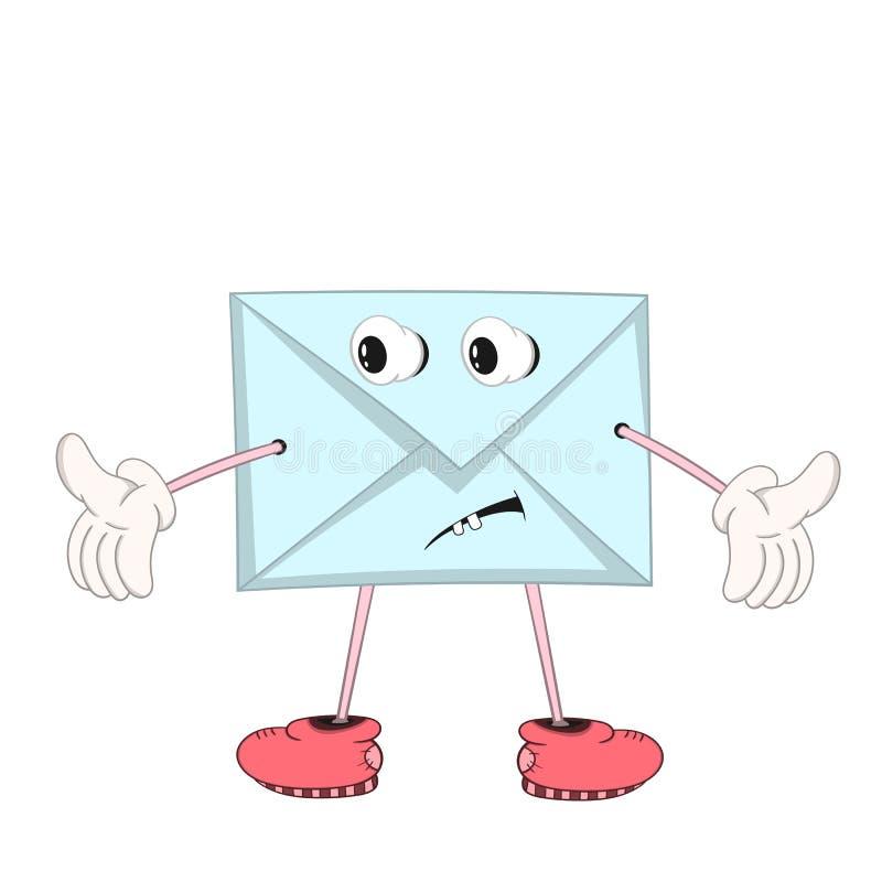 La lettre bleue drôle de bande dessinée avec des yeux, des bras et des jambes dans des chaussures montre la confusion d'émotion e illustration de vecteur