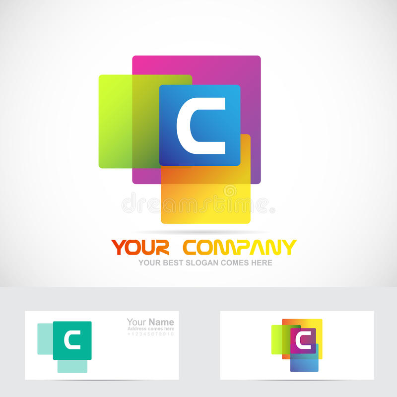 La lettre C colore le logo carré illustration de vecteur