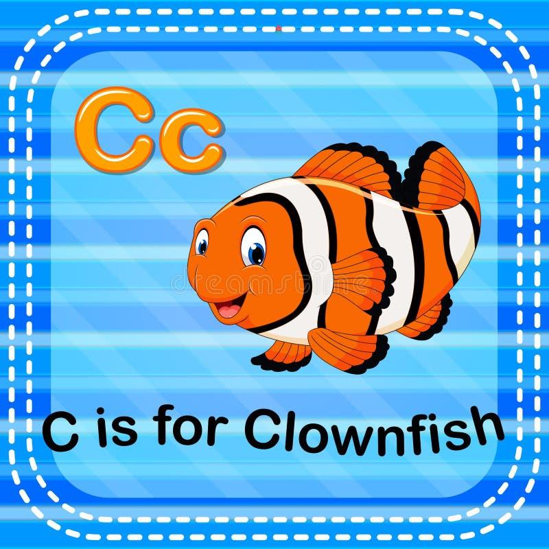 La lettre C de Flashcard est pour des clownfish illustration stock