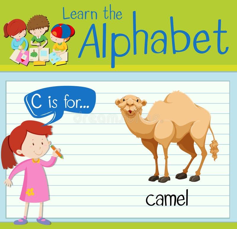La lettre C de Flashcard est pour le chameau illustration de vecteur