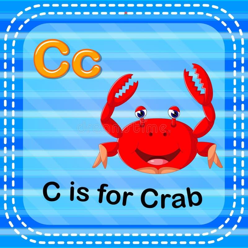 La lettre C de Flashcard est pour le crabe illustration stock