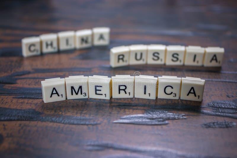 La lettre couvre de tuiles la porcelaine de la Russie de maerica photo libre de droits