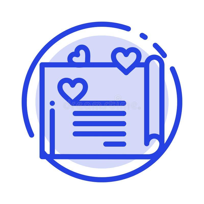 La lettre d'amour, carte de mariage, couplent la proposition, ligne pointillée bleue ligne icône d'amour illustration stock