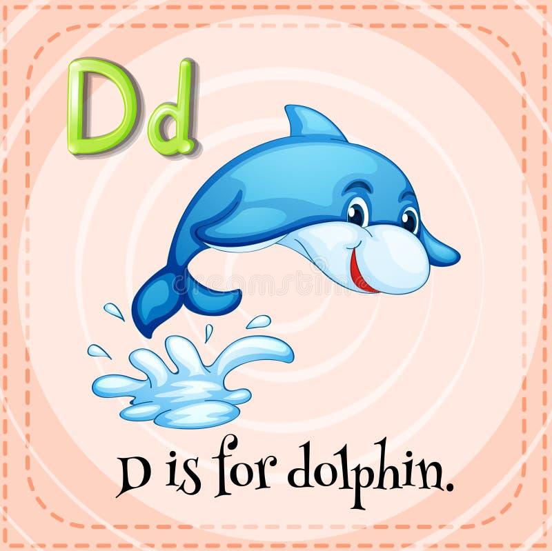 La lettre D de Flashcard est pour le dauphin illustration stock