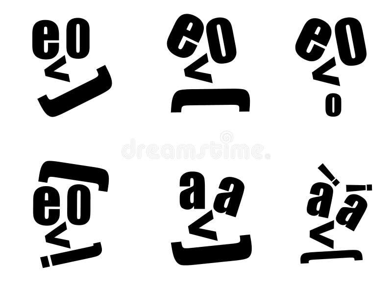 La lettre dirige les caractères abstraits de visage illustration de vecteur