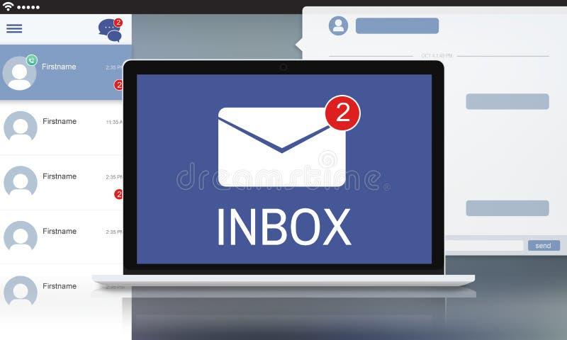 La lettre enveloppent le concept d'avis de message illustration stock