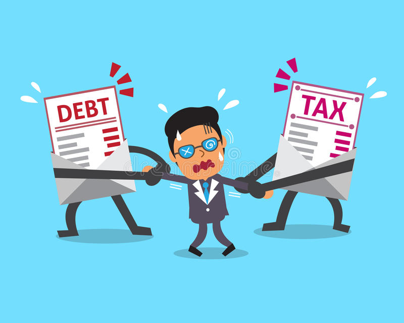 La lettre et l'impôt de dette de personnage de dessin animé marquent avec des lettres tirer l'homme d'affaires illustration stock
