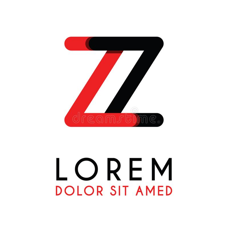 la lettre initiale ZZ avec noir rouge et a les coins arrondis illustration libre de droits