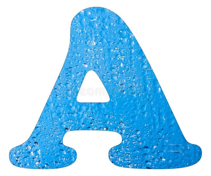 La lettre A, l'eau bleue laisse tomber - le fond blanc photo libre de droits