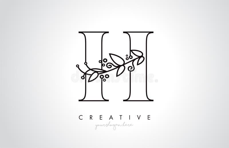 La lettre Logo With Organic Monogram Plant de H pousse des feuilles détail et conception de cercle Icône créative de lettre illustration de vecteur