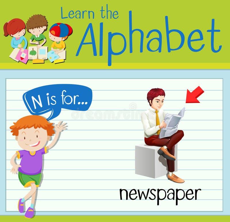 La lettre N de Flashcard est pour le journal illustration libre de droits