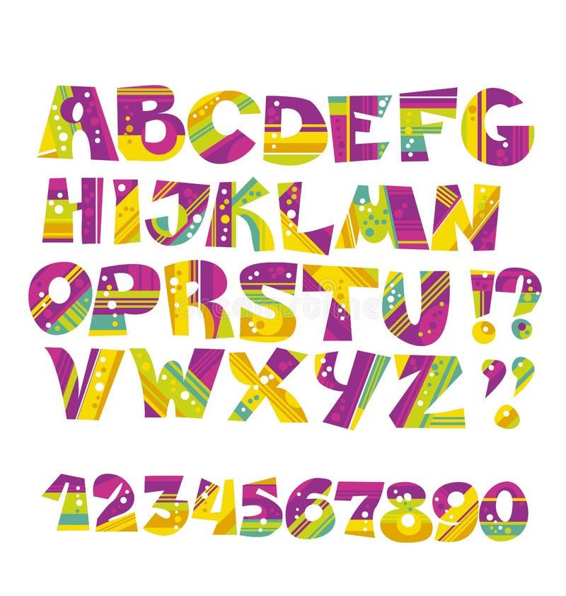 La lettre puérile de style a placé dans la couleur rose et verte illustration stock