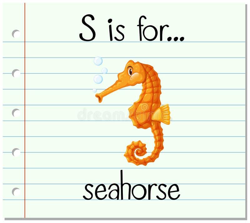 La lettre S de Flashcard est pour l'hippocampe illustration de vecteur