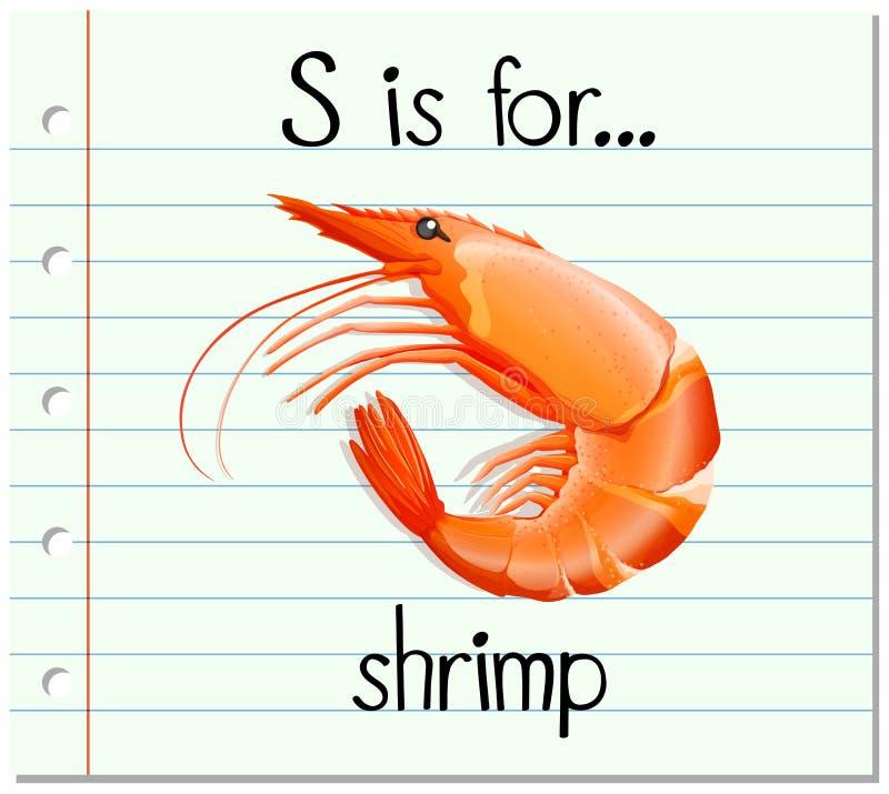 La lettre S de Flashcard est pour la crevette illustration stock