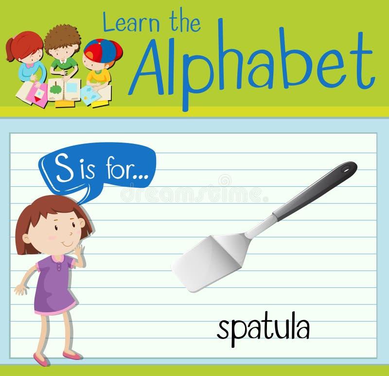La lettre S de Flashcard est pour la spatule illustration de vecteur
