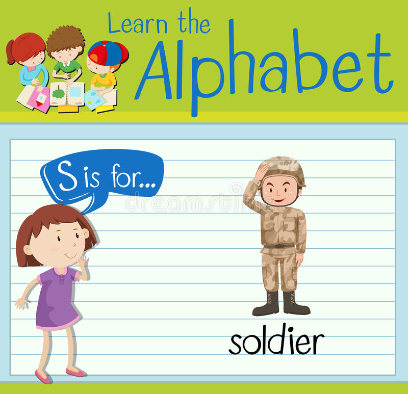 La lettre S de Flashcard est pour le soldat illustration de vecteur