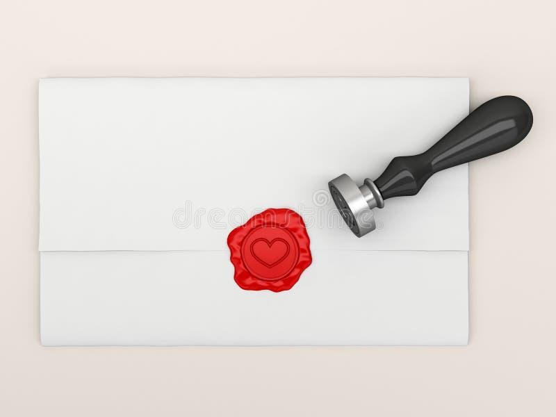 La lettre scellée par une estampille avec le coeur. illustration stock