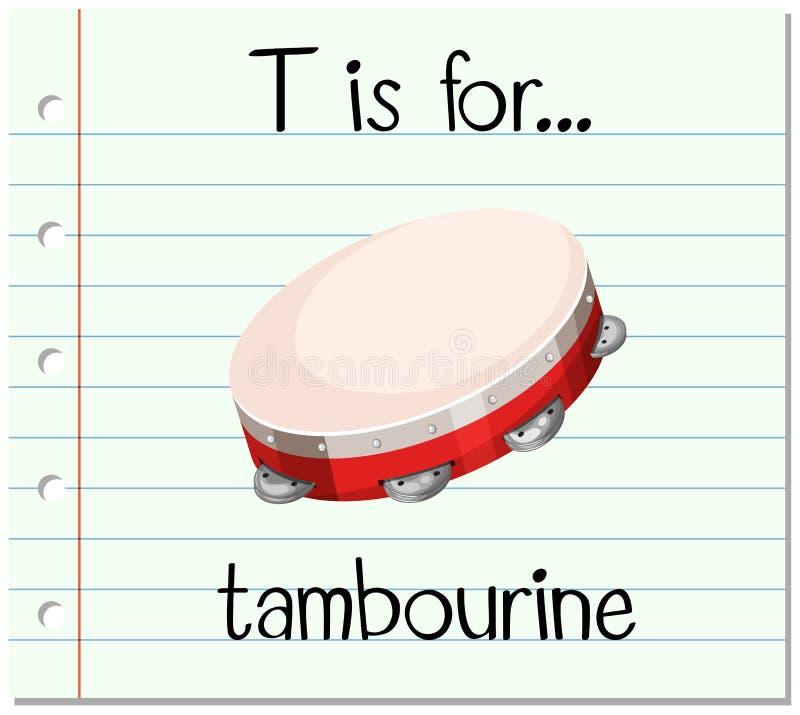 La lettre T de Flashcard est pour le tambour de basque illustration de vecteur