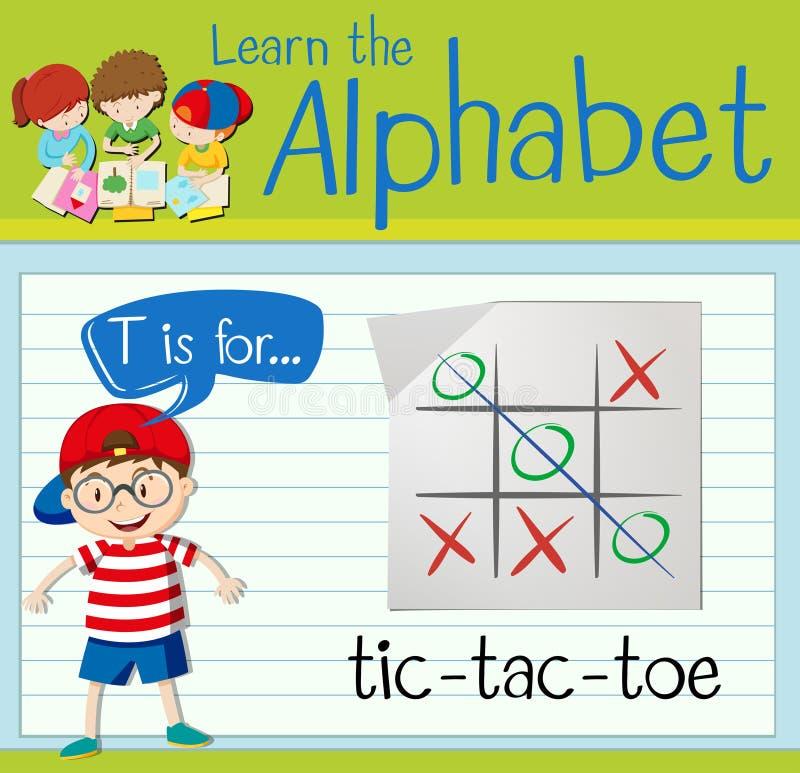 La lettre T de Flashcard est pour le tic-TAC-orteil illustration stock