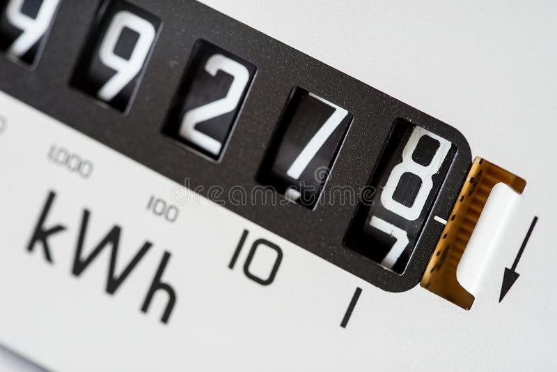La lettura dell'elettricità numera il primo piano fotografie stock libere da diritti