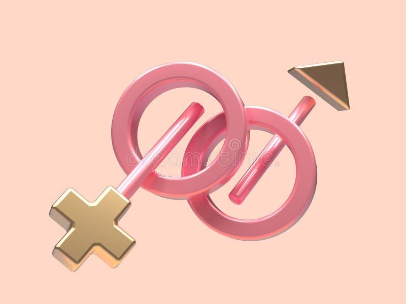 La levitación geométrica metálica 3d de la forma de la escena del oro mínimo del rosa hace símbolo abstracto hembra-varón stock de ilustración
