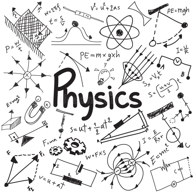 La ley de la teoría de la ciencia de la física y la ecuación de la fórmula matemática, hacen stock de ilustración