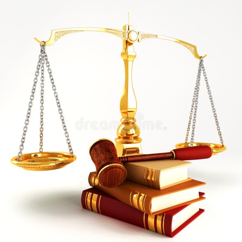 La ley de madera dio en pila de libro colorido stock de ilustración
