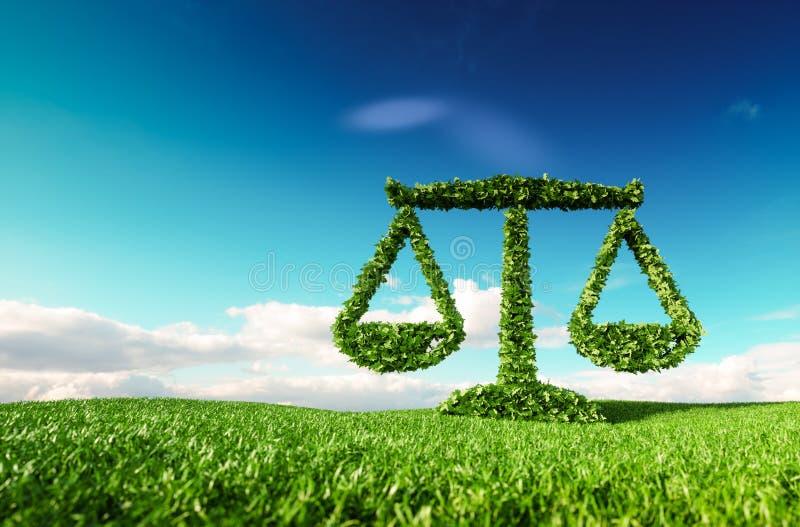 La ley, las políticas y el eco amistosos de Eco equilibran concepto representación 3d stock de ilustración