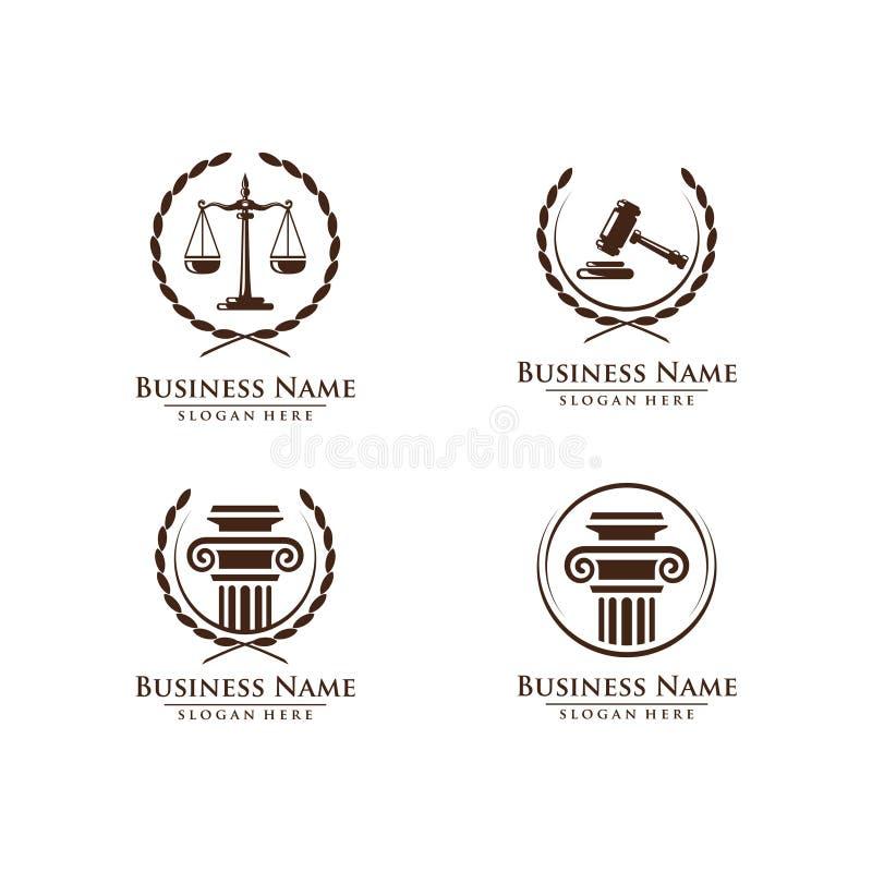 La ley y el logotipo del abogado, la ley elegante y el logotipo firme del vector del abogado diseñan stock de ilustración