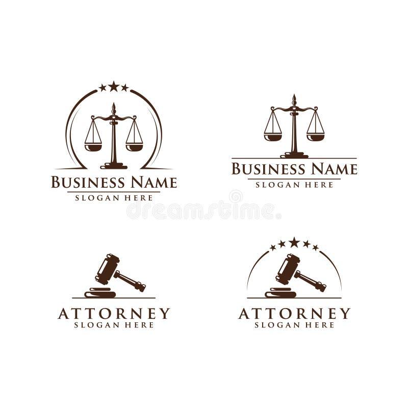 La ley y el logotipo del abogado, la ley elegante y el logotipo firme del vector del abogado diseñan ilustración del vector