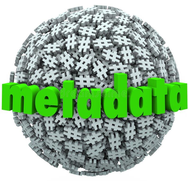 La libbra di numero di meta dati sminuzza i meta dati Hashtags della sfera dell'etichetta illustrazione vettoriale