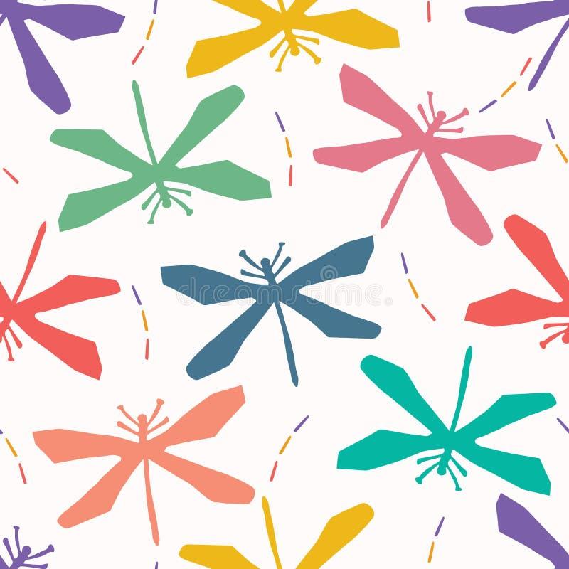 La libellula astratta ha tagliato le forme Fondo senza cuciture del modello di vettore Carta della mano che taglia stile del mati illustrazione vettoriale