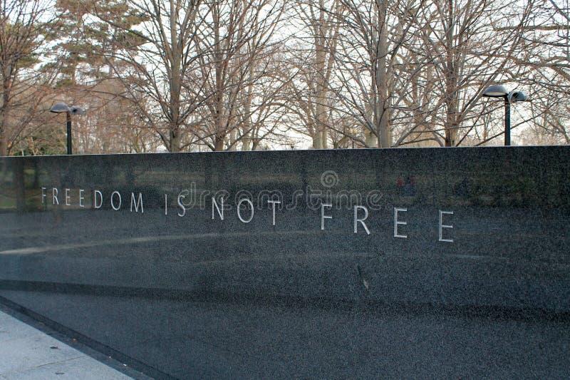 La libertà non è libera al memoriale di guerra di Corea immagini stock