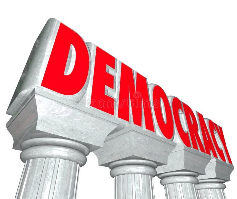 La libertad de las columnas de las letras de la palabra 3d de la democracia elige al gobierno libre illustration