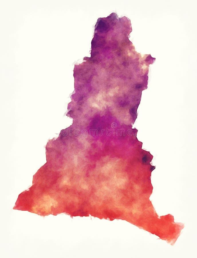 La Libertad department watercolor map of the El Salvador. Illustration royalty free stock photo