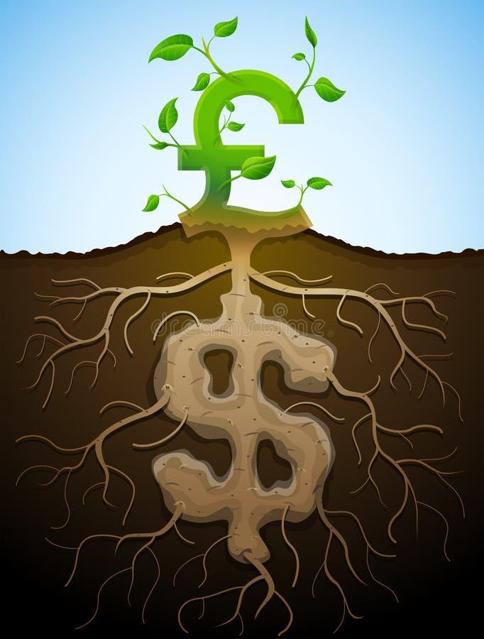 La libra cada vez mayor firma como la planta con las hojas y el dólar como raíz stock de ilustración
