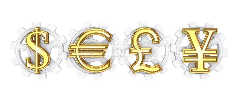 La libra esterlina del dólar, del euro, de los yenes y firma. ilustración del vector